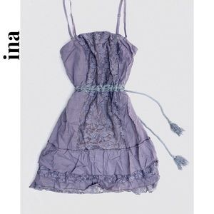 Ina • Peasant Square Neck Lace & Rope Tie Dress